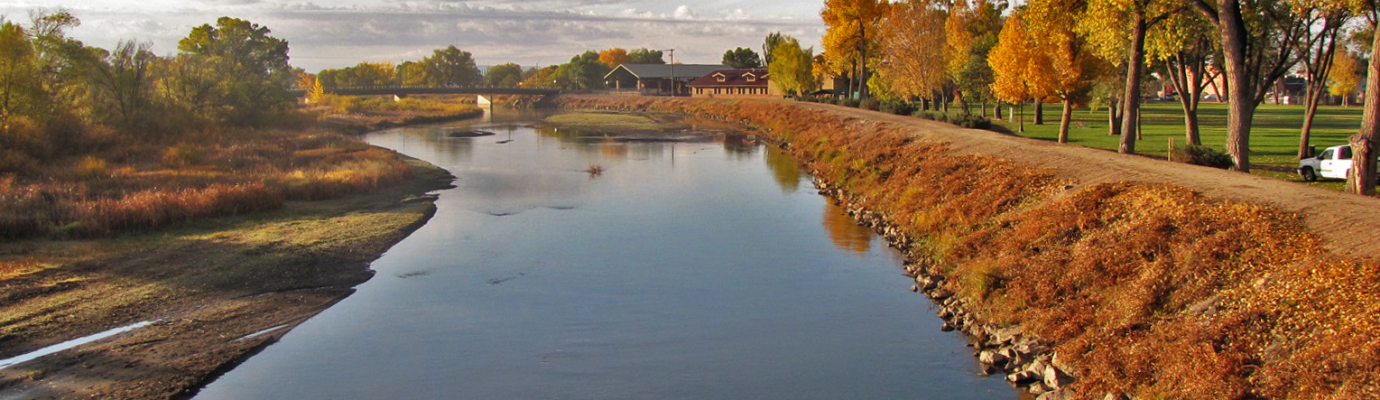 Rio Grande River Looking Toward City Hall at Cole Park